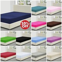 Poly Cotton Fitted Mattress Bed Sheet / Pillow Covers Single Double Super King