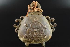L1107: Japanese Old Copper pattern sculpture BELL Buddhist art
