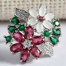 Festive red white Flower xmas Colorful Crystal celebratory cocktail ring size 6