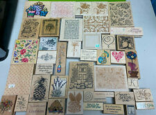 great lot 42+ Wood Wooden rubber stamps Anna Griffin stampede inkadinkado ++