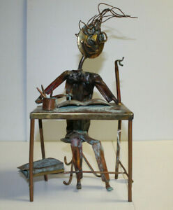 Kosie Wium copper metal statue - Composer at Table - South Africa artist signed