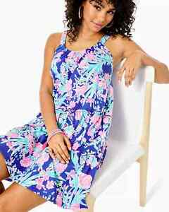Lilly Pulitzer Loro Swing Dress Corsica Blue Toucan Party Size S/XL