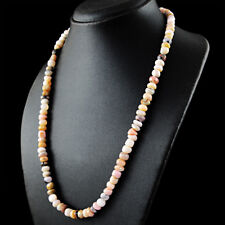 196.50 Cts Natural Pink Australian Opal Untreated Beads Single Strand Necklace