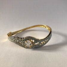 CLEAR GOLD BANGLE BRACELET INDIAN COSTUME JEWELLERY AMERICAN DIAMOND CRYSTAL NEW