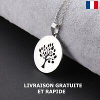 Collier Pendentif Arbre De Vie Acier Inoxydable Cadeau Bijou Femme Fêtes Mères