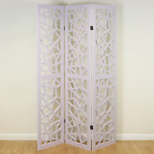 White 3 Panel Decorative Folding Home Room Divider Paintable Partition Screen
