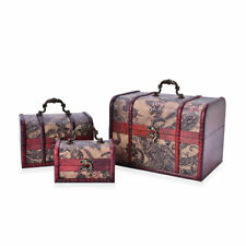 Set of 3 Paisley Faux Leather Treasure Chest Jewelry Organizer Box Storage