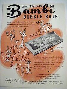 "Vintage DISNEYLAND BUBBLE BATH DEAL Advertisement Flyer 1950's w/ ""Bambi"" *"