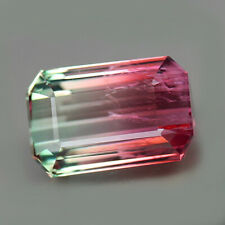 14.47ct.RARE GEMSTONE BI COLOR TOURMALINE OCTAGON CUT NATURAL GEMSTONE UNHEATED