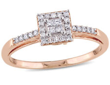 """Огранка """"принцесса"""" обручальное кольцо с бриллиантом 1/5 карат (Ctw) в 10K розовое золото"""
