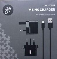 Goji G24MMC17C 2.4A USB Mains Charger + 1m MicroUSB Cable - Black