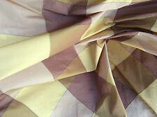 BROWN GOLD CHECK PLAID TAFFETA SATIN UPHOLSTERY  FABRIC
