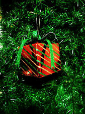 GIFT BOX CHRISTMAS ORNAMENT RED w/GLITTERED GREEN/GOLD STRIPES & GLITTERED GREEN