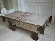 Rustic Railway Style Market Barrow Style Coffee Table Shabby Chic, Cast Wheels