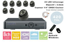 KIT COMPLET 8 CAMERAS VIDEOSURVEILLANCE + ENREGISTREUR DVR Windows iOS Android
