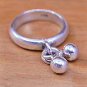 Size 7, vintage Sterling 925 silver handmade ring with bead charm