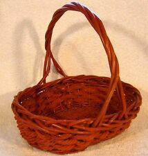 RED RATTAN Wicker ROPE BASKET Display Valentine Christmas Holiday Gift w/ Handle