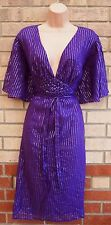 BANKE B PURPLE SILVER STRIPE BELTED V NECK A LINE SKATER PARTY TEA DRESS XL 16