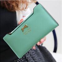 Fashion Womens Leather Bowknot Clutch Wallet Long PU ID Card Purse Handbag Gifts