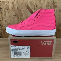 Vans Sk8 Hi Slim (Neon Leather) Neon Pink / White Size Mens 3.5 Womens 5 New