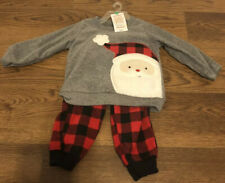 Just One You By Carter's 2-Piece Fleece Santa Plaid Outfit (Size 12 Months) NEW