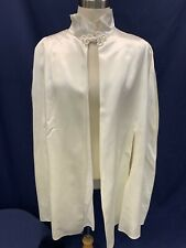 Vintage Shawl Cape Off White Satin Formal Mother Of The Bride Snow Queen Euc
