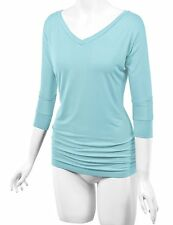 Johnny MBJ Womens 3/4 Sleeve Drape Top with Side Shirring Aqua Size XXL # F