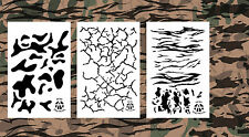 """3Pack! Spray Paint Camouflage Stencils 14"""" - Multicam Cracked Earth Tiger Stripe"""