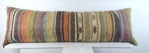 Extra Large Kilim Pillow Cover 16x48 Handmade Boho Ethnic Oriental Lumbar A1551