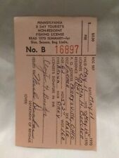 1970 Pa Pennsylvania 5 Day Tourist Nr Non Resident Fishing License