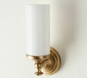 2 pc SET of POTTERY BARN Mercer Single Tube Tumbled Brass Wall Sconce NEW in Box