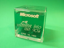Microsoft Sailing Into The 90's 1993 Desktop Paper Weight Ornament Fluid Filled