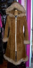 boho Hippy Princess Suede and Sheep Shearling Full Length Coat  Penny Lane