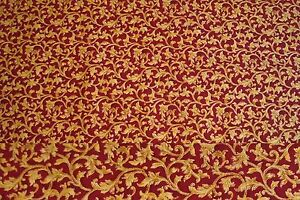 8 Yards Gold Vines on Burgundy Background