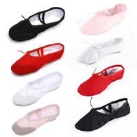 Women Girl Canvas Split Sole Ballet Dance Shoes Pointe Slippers Size 36-40 - DD