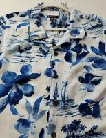 George Men's Short Sleeve Button Up Shirt 2XL XXL Blue White Floral Hawaiian