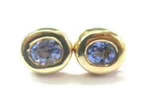 Halo Tanzanite Stud Earrings 14Kt Yellow Gold 2.15Ct AAA-VS