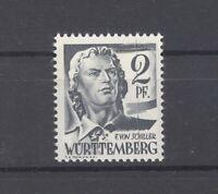 Franz. Zone Württemberg MI.Nr. 1, 2 Pfg. 1947 ** mit senkrechten Strich (26292)