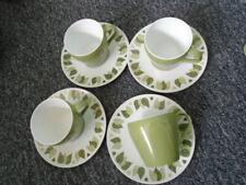 More details for green leaf pattern melaware melamine cups & saucers x 4 camper van caravan  634g