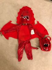 New NWT Pottery Barn Kids Red Dragon Halloween Costume 3T Toddler Plus Treat Bag