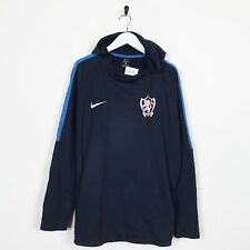 Vintage NIKE Dri-Fit USA Small Logo Polyester Hoodie Sweatshirt Navy Blue XL