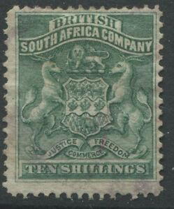 Rhodesia 1890 10/ deep green lightly used