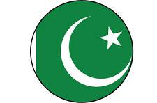 PAKISTAN FLAG FILLED IN A CIRCLE SHAPE VINYL STICKER - 15 cm x 15 cm