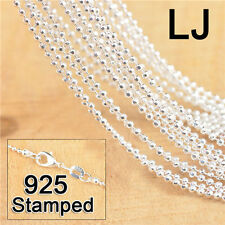 """10Pcs 18"""" 925 Sterling Silver Ball Bead Prayer Necklace Chains+Lobster Clasp"""