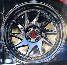 """18"""" ESR SR09 18x8.5 +30 5X100 Black Chrome Wheels Set For Dodge Neon SRT4 Rims"""