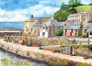 Charlestown Cornwall art print from a Watercolour painting by Alex Pointer