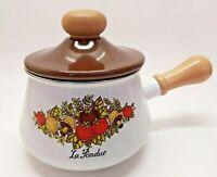 RARE Vintage 1970s Corning Ware Spice of Life La Fondue Enamel Pot Saucepan