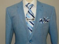 Men's Blazer Renoir Herringbone Patch Pockets Side Vents Linen Blend 608-20 Blue