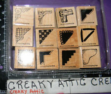 STAMPIN UP CREATIVE CORNERS 12 RUBBER STAMPS WOOD LACE CHECK RIBBON