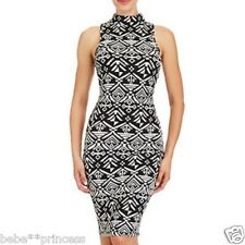 NWT bebe black white floral zip back stretchy bodycon top dress cocktail XS 0 2